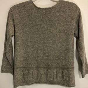 Zara gray sweater w/ Wild Life imprint 3/4 sleeve